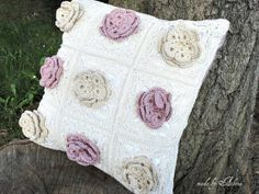 Crocheted pillow case with roses by ChezAthena on Etsy, $38.00