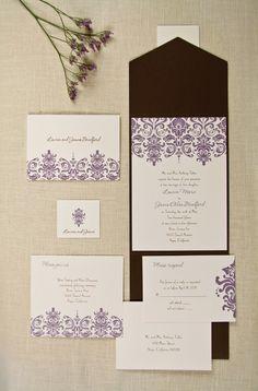 Chocolate Brown and Lavender/Purple Wedding Invitations