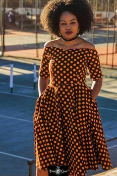 Brown off shoulder Ankara African Print vintage dress African Print Wedding Dress, African Print Dresses, African Print Fashion, African Fashion Dresses, African Dress, Seshweshwe Dresses, Vintage Dresses, Short Dresses, Ankara Gowns