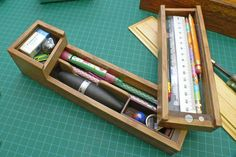 An Old School Pencil Box .with an M&Ms secret. Wooden Pencil Box, Wooden Pencils, School Pencil Boxes, Wood Shop Projects, School Accessories, School Stationery, Coloured Pencils, Old Ads, Pen Case