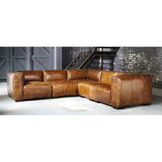 Sitzelement aus Leder, B 71cm, braun John | Maisons du Monde