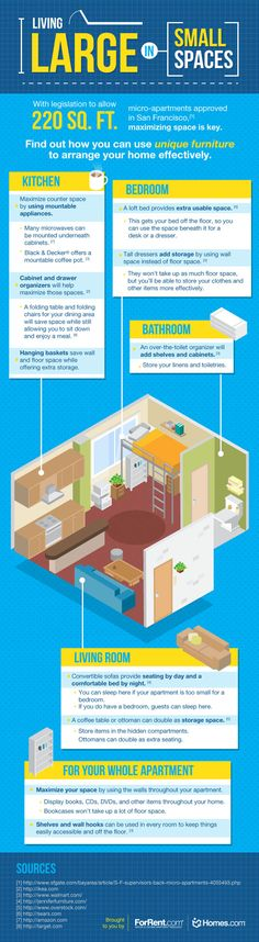 living large in small spaces, infographic, tiny homes, tiny apartment living… Tiny Apartment Living, Micro Apartment, Small Apartment Decorating, Apartment Ideas, Mini Loft, Studio Apt, Tiny Studio, Studio Living, Studio Apartment