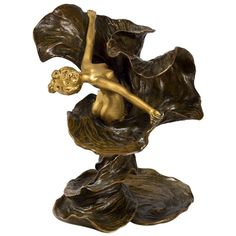 Chalon French Art Nouveau Gilt and Patinated Bronze Loïe Fuller | From a unique collection of antique and modern sculptures at https://www.1stdibs.com/furniture/decorative-objects/sculptures/