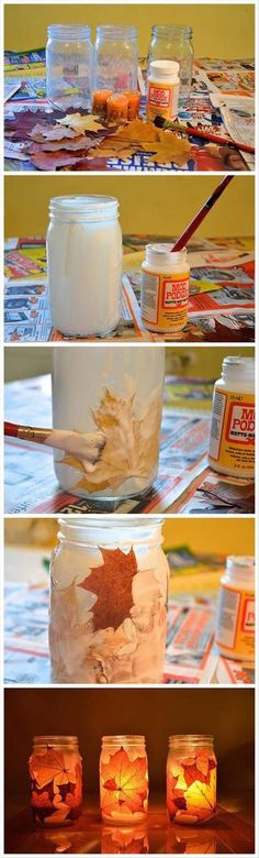 Image via We Heart It https://weheartit.com/entry/143375962/via/27595970 #candles #diy #fall #idea #inspiration #jar #leaves #roomdecor #falldiy