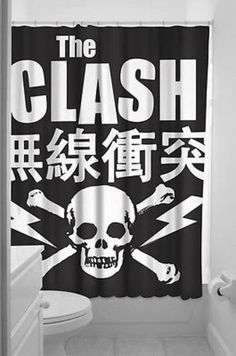 """The Clash was once called """"The only band that matters"""". Now you can get the only shower curtain that matters. polyester shower curtain by Sourpuss, plastic shower rings included. - Made by Sourpuss - Polyester - by Punk Tattoo, Pin Up Tattoos, Curtain Fabric, Fabric Shower Curtains, Retro Shower Curtain, Urban Movies, Metal Music Bands, Sourpuss Clothing, The Clash"""