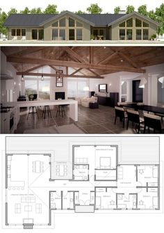 Farmhouse Plans, Home Plans, Floor Plans New House Plans, Dream House Plans, Modern House Plans, Small House Plans, House Floor Plans, Barndominium Floor Plans, Modern Farmhouse Plans, House Blueprints, Sims House
