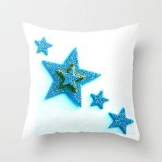 Glittery Blue Throw Pillow by Jensen Merrell Designs - $20.00
