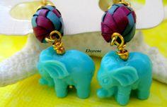 Gypsy green mint Elephant earrings-whimsical by elsyrene on Etsy