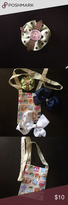 Girls Hair Bows and cross-body bag Chocolate and olive initial boutique bow Patty CaSandra Accessories Hair Accessories