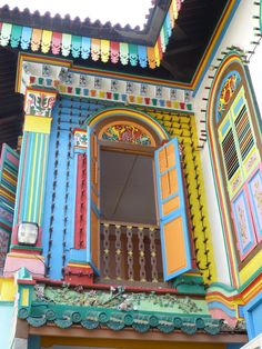 The most colorful house! Tan Teng Niah Villa, Little India, Kerbau Road, Singapore Little India Singapore, Singapore Travel, Colourful Buildings, Colorful Houses, Beautiful Architecture, Places Around The World, Asia Travel, Windows And Doors, House Colors