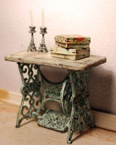 To be made on request. Sewing machine table, dollhouse miniature, scale 1:12