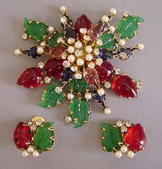 Schreiner of NY brooch and earrings