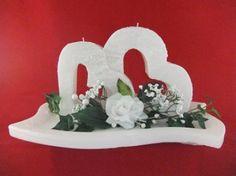 Candle & Rings - Hochzeitskerze Doppelherz mit 2 Teelichter Birthday Candles, Candles
