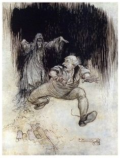 A man runs as fast as his legs can carry him, to escape a ghost coming out of a dark opening.