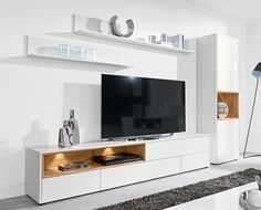 Modern wall storage system TV unit & tall cabinet matt white and oak