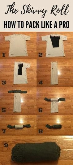 The Skivvy Roll: How to Pack Like a Pro - A good shirt, a clean pair of undergarments, and some dry socks can always be clutch whether you are contending with a simple mishap or an extreme survival situation. The skivvy roll is a convenient way to bundle the trifecta of clothing hygiene into one easy-to-tote roll.