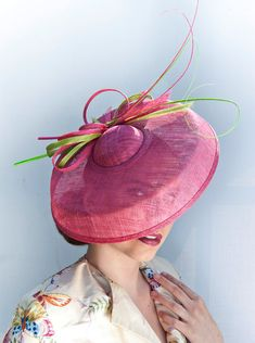 Dutch design  pink with green saucerhat by MarcusArtandFashion, $169.00