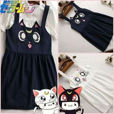 6d96731d02a Lolita Girls Anime Sailor Moon Luna Black CAT Embroidery Suspender Casual  Dress