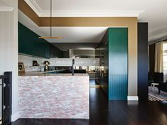 A marble kitchen island can make your cooking space feel luxe or simple and well-designed. Here are our favorite ways to incorporate the the ever-popular marble kitchen island. Kitchen Colors, Kitchen Design, Splashback Tiles, Interior Styling, Interior Design, Teal And Pink, Room Dimensions, Design Blog, Pink Marble