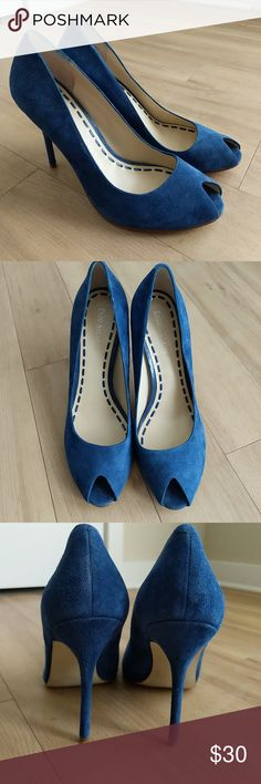 Cobalt Blue Heels Suede and very comfortable. You can only tell they've been worn by the light scuffs on the bottom of the soles. Enzo Angiolini Shoes Heels