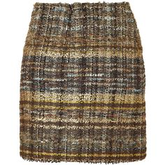 BLUMARINE Multicolor Bouclé Skirt ($267) ❤ liked on Polyvore featuring skirts, mini skirts, bottoms, faldas, gonne, tartan plaid skirt, tartan skirt, short brown skirt, evening skirts and holiday skirts