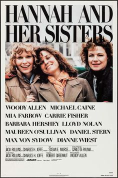 Woody Allens' 'Hannah And Her Sisters', 1976- Hannah (Mia Farrow), Holly (Diane Wiest) & Lee (Barbara Hershey) are adult sisters, living in New York, from a show business family. Their charming, boozy, actress mother (Maureen O'Sullivan) who still looks on herself as a pretty ingenue, who can still attract any man she desires - Is still married to the girls father, Even (Lloyd Nolan) Hannah is attractive & accomplished, & on her 2nd marriage to Elliott (Michael Caine).