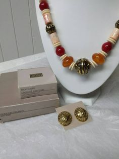 Avon Moroccan Necklace and Pierced earrings Mint Condition 1990 Warm Amber