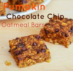 pumpkin chocolate chip oatmeal bars. I added ground flax seed and used cinnamon chips instead of chocolate chips!