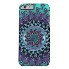 Celtic Mandala on Colorful Fractal iPhone 6 Case. Beautiful mandala in turquoise and purple with metallic symbols and a Celtic knot at the center.  #Celtic  #iPhone  #iPhone6