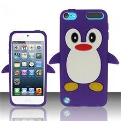 INSTEN Purple Funny Penguin Design Silicone Soft Skin Case Cover For Apple iPod Touch 5