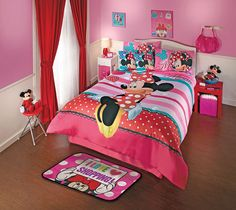 New Disney Minnie Mouse Love Pink Red Comforter Bedding Sheet Set | eBay