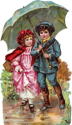 Oblaten Glanzbild scrap die cut chromo Kind child XL Schirm Paar couple umbrella