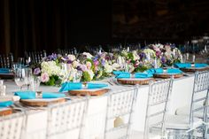 Nine foot long floral table runner with ivory, pink, lavender and green blooms @anestatehotel Photo by @EmilyExon   Flowers by Janie- Calgary Wedding Florist www.flowersbyjanie.com