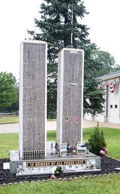 A Fire Station Memorial in New Jersey for all those lost. World Trade Towers, World Trade Center Nyc, American Revolutionary War, American Civil War, American History, 911 Remembrance, Remembering September 11th, We Will Never Forget, Gadgets And Gizmos
