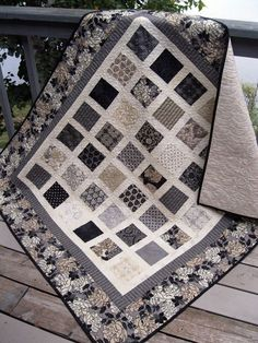 RESERVED Simply Little Black Dress 54x60 quilt in black, gray and cream