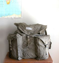 Vintage Italian Army Backpack Olive Military by CaprockVintage, $89.00