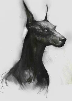 doberman by Leszek Woź on ArtStation. Arte Horror, Horror Art, Dark Art Drawings, Animal Drawings, Art Noir, Arte Obscura, Wow Art, Creepy Art, Dark Fantasy Art