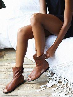 46824f76d26be7 ... Black Octavia Granola Sandal. Gunwoong Kim · shoe · Solid Color Open  Toe Flats Boots Shoes Ridge Runner