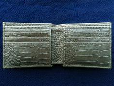 Genuine ALLIGATOR CROCODILE lateral skin Leather Billfold Men Wallet gold silver #Handmade #Bifold