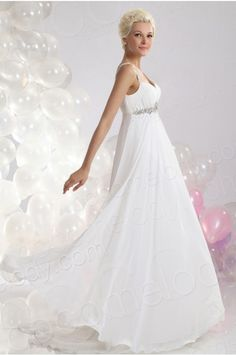 Chic Sheath Column Spaghetti Strap Empire Court Train Chiffon Wedding Dress Cwlf13017