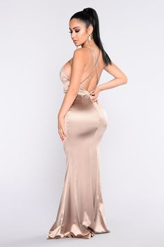 Available In Champagne And Wine Stretch Satin Fabrication Maxi Mermaid Gown Adjustable Criss Cross Straps Slit Front Polyester Spandex Maxi Gowns, Satin Dresses, Sexy Dresses, Nice Dresses, Fashion Dresses, Summer Dresses, Women's Fashion, Plus Size Maxi Dresses, Club Dresses