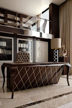 Discover the High End Designer Lacquered Writing Desk at Juliettes Interiors, a seductive design. Making it a superbly glamorous addition to any home study or office. Office Table Design, Office Interior Design, Luxury Interior Design, Office Interiors, Office Decor, Office Ideas, Office Themes, Luxury Furniture, Office Furniture