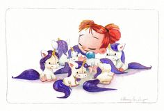 Original Watercolor Illustration, Little Girl obsessed with Unicorns, 12 x 18. $200.00, via Etsy.