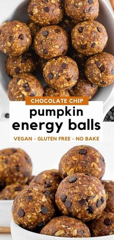 No-bake pumpkin energy balls are an easy and healthy fall snack recipe! They are vegan, gluten-free, and taste just like chocolate chip pumpkin cookie dough. Made with dates, pumpkin puree, oats, peanut butter, cinnamon, ginger, and nutmeg. These energy bites are made in 10 minutes! #pumpkin #pumpkinspice #fallrecipes #energyballs #energybites #falldesserts #pumpkindessert #dates #snackrecipes #healthysnack #thanksgiving #thanksgivingrecipe #friendsgiving Pumpkin Energy Balls, Vegan Energy Balls, Energy Bites, Date Energy Balls, Date Balls, Healthy Vegan Snacks, Gluten Free Snacks, Vegan Desserts, Peanut Free Snacks
