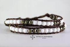 MyChau Vietnam | Double Bracelet - Green, White Metal: Silver Precious gemstones: Pyrite and white Agate http://www.patriciapapenberg.com/default/mychau-vietnam-bracelet-green-white #jewels #jewelry #bracelets #bracciali #gioielli