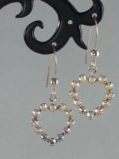 Clear AB Swarovski crystal heart on sterling silver earrings