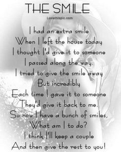 The Smile quote smile people kindness poem friendly cute happy qote quotes positive quotes