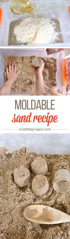 This moldable play sand recipe has just three ingredients! It has a great texture and it doesn't stick to your hands, so it's really easy to clean up! (Ingredients Art Shaving Cream)