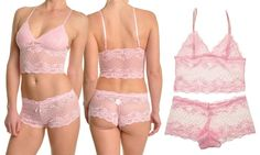 This lacy, sheer camisole bralette and shorts set can be worn as seductive undergarments or as sexy pajamas