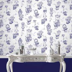 Shop the Graham & Brown Loo Loo Blue Bathroom Wallpaper and give your bathroom a. Shop the Graham Quirky Wallpaper, Wall Wallpaper, Pattern Wallpaper, Wallpaper Ideas, Brown Wallpaper, Graphic Wallpaper, Bathroom Wallpaper Victorian, Wallpaper Toilet, Heaven Wallpaper